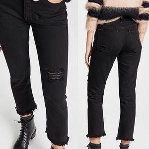 Agolde Riley Hi Rise Straight Leg Distressed Jeans